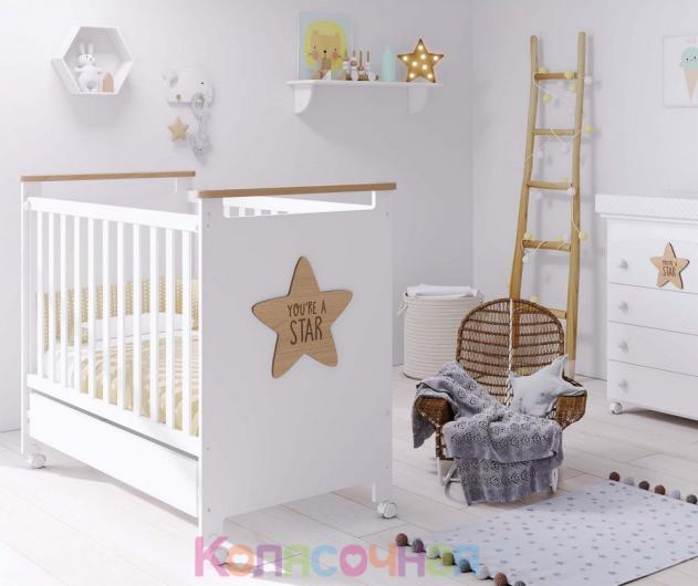 Кроватка 120x60 Micuna Baby Star(White/Natural)